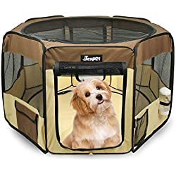 "JESPET 45"" Pet Dog Playpens, Portable Soft Dog Exercise Pen Kennel with Carry Bag for Puppy Cats Kittens Rabbits,Brown"