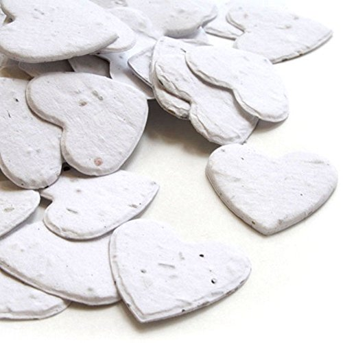 Heart Shaped Plantable Seed Confetti (White) - 350 pieces/bag