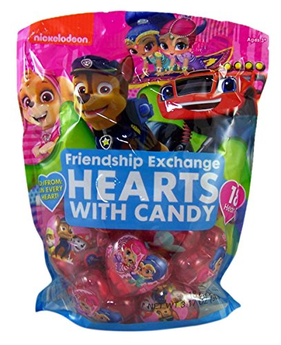 Nick Jr Characters Valentine's Day Classroom Friendship Exchange Hearts with Candy, 18 Count