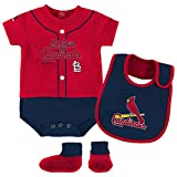 St. Louis Cardinals Infant Red Navy Blue Tiny Player Creeper Bib & Bootie Set