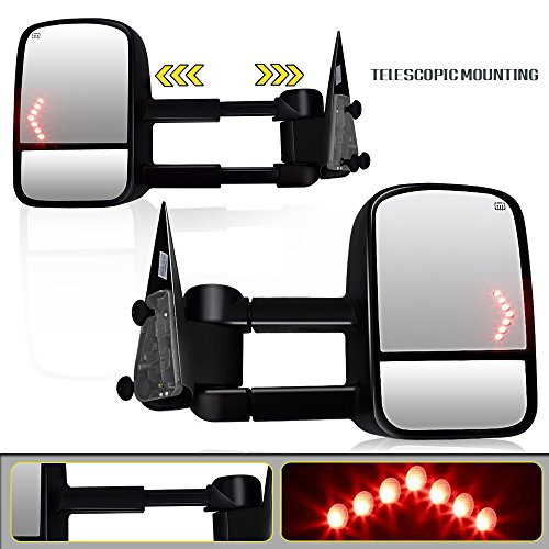 Spead-Vmall DOT Approved Towing Mirrors Side View Tow Mirrors for 2003 2004 2005 2006 Chevrolet Chevy Silverado 1500HD 2500HD 3500HD GMC Sierra Pickup with Power Heated and Arrow Turn Signal Light