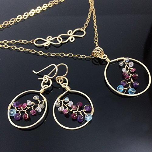 14k Gold Vine Jewelry Set Gold Leaf Pendant, Fine OOAK Jewelry Gift for Her