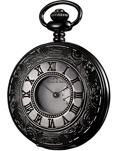 HELMASK pocket watch - Alloy Black Round man mens Analog quartz Half hunter Pocket Watch by HELMASK COLLECTION (Image #1)