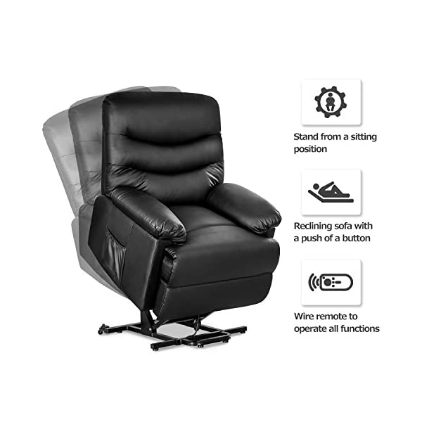 Surprising Merax Power Recliner And Lift Chair In Black Pu Leather Lift Recliner Chair Heavy Duty Steel Reclining Mechanism Gmtry Best Dining Table And Chair Ideas Images Gmtryco