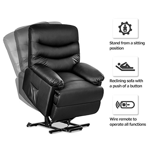 Merax Power Recliner And Lift Chair In Black Pu Leather