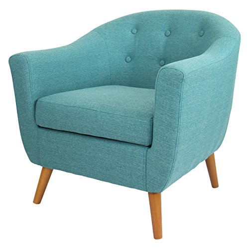 mid century modern style teal button-tufted upholstered tub accent armchair with wood legs includes modhaus living (tm) pen Mid Century Modern Style Teal Button-tufted Upholstered Tub Accent Armchair with Wood Legs Includes ModHaus Living (TM) Pen 51vU 2BpALehL
