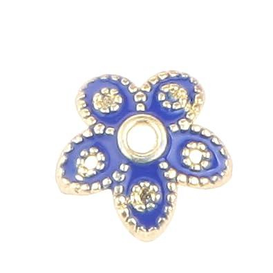 Gazechimp 6pcs Blau Emaille Cloisonne Perlen Vergoldet Blumen Kappen