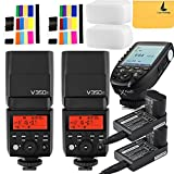 Godox V350F TTL 2.4G 2X Camera Flash with Built-in Rechargeable 7.2V/2000mAh Li-ion Battery,Godox Xpro-F Flash Trigger for For Fujifilm Fuji Cameras