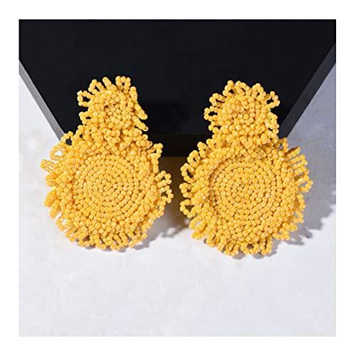 Handmade Bohemian Beaded Round Earrings Dangle Drop Earrings for Women