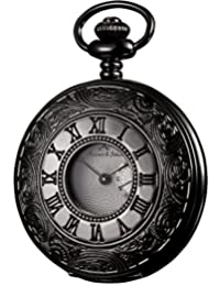 KS Half Hunter Steampunk Antiqued Black Case White Dial Roman Japanese Quartz Pocket Watch KSP017