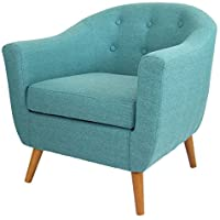 Mid Century Modern Style Teal Button-tufted Upholstered Tub Accent Armchair with Wood Legs Includes ModHaus Living (TM) Pen