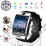 HD Touch Screen Waterproof Bluetooth Phone Watch with SIM Card Slot for Smartphones Black