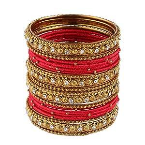 Efulgenz Fashion Jewellery Indian Bollywood Gold Plated Crystal Beaded Silk Thread Bracelet Bangle Set (20 pc)
