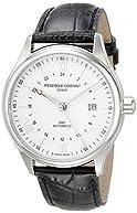 Frederique Constant Men's 'Classics' Silver Dial Black Leather Strap GMT Swiss  Automatic Watch FC-350S5B6