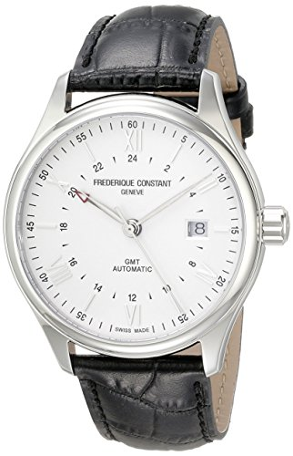 Frederique Constant Men's 'Classics' Silver Dial Black Leather Strap GMT Swiss Automatic Watch FC-350S5B6