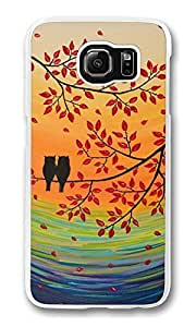 Galaxy S6 Case, S6 Case, Customized Shock Absorption Bumper Case PC Clear Protective Cover Case for New Samsung Galaxy S6 Owl On Tree Painting
