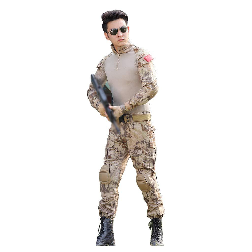 砂漠のパイソン柄の迷彩スーツ、男性の夏の特殊部隊のスーツ薄いセクショントレーニングスーツ狩猟スーツ屋外のライディングに最適スポーツ隠し釣り狩猟キャンプバードウォッチング (サイズ さいず : 180/2XL/36) 180/2XL/36  B07PCRKX5Z