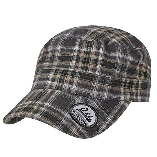 ililily Tartan Checkered Cotton Military Army Radar Hat Casual Cadet Cap, ()