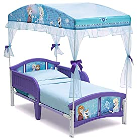Delta Children Canopy Toddler Bed, Disney Princess  with Twinkle Stars Crib & Toddler Mattress 4
