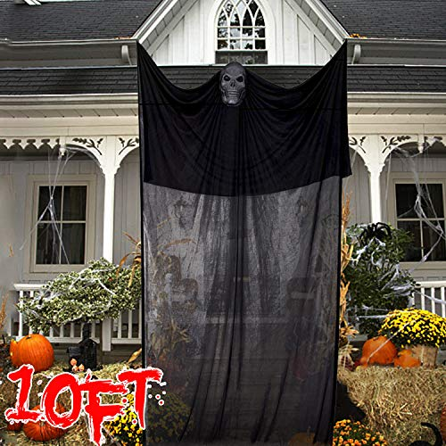 Flying Ghost Halloween (10 ft Halloween Ghost Hanging Decorations Scary Creepy Halloween Theme Party Supplies Death Reaper Skeleton Skull Flying Ghost Halloween Horrible Spooky Props Decor for Yard Outdoor Indoor Bar -)