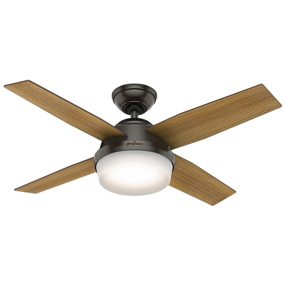 Hunter Fan Company 59444 Dempsey with Light 44'' Ceiling Fan Handheld Remote, Small, Noble Bronze