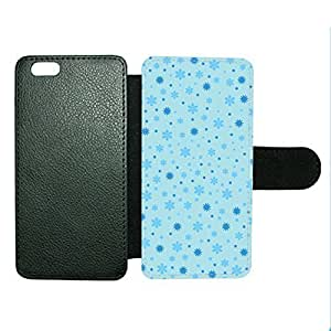 Case Fun Case Fun Christmas Blue Snowflake Pattern Faux Leather Wallet Case Cover for Apple iPhone 6 4.7 inch