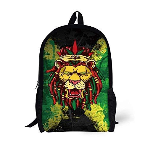Vintage Flag Print Backpack For Child Girls Kids Book School Bags Lion Of Jamaica Reggae
