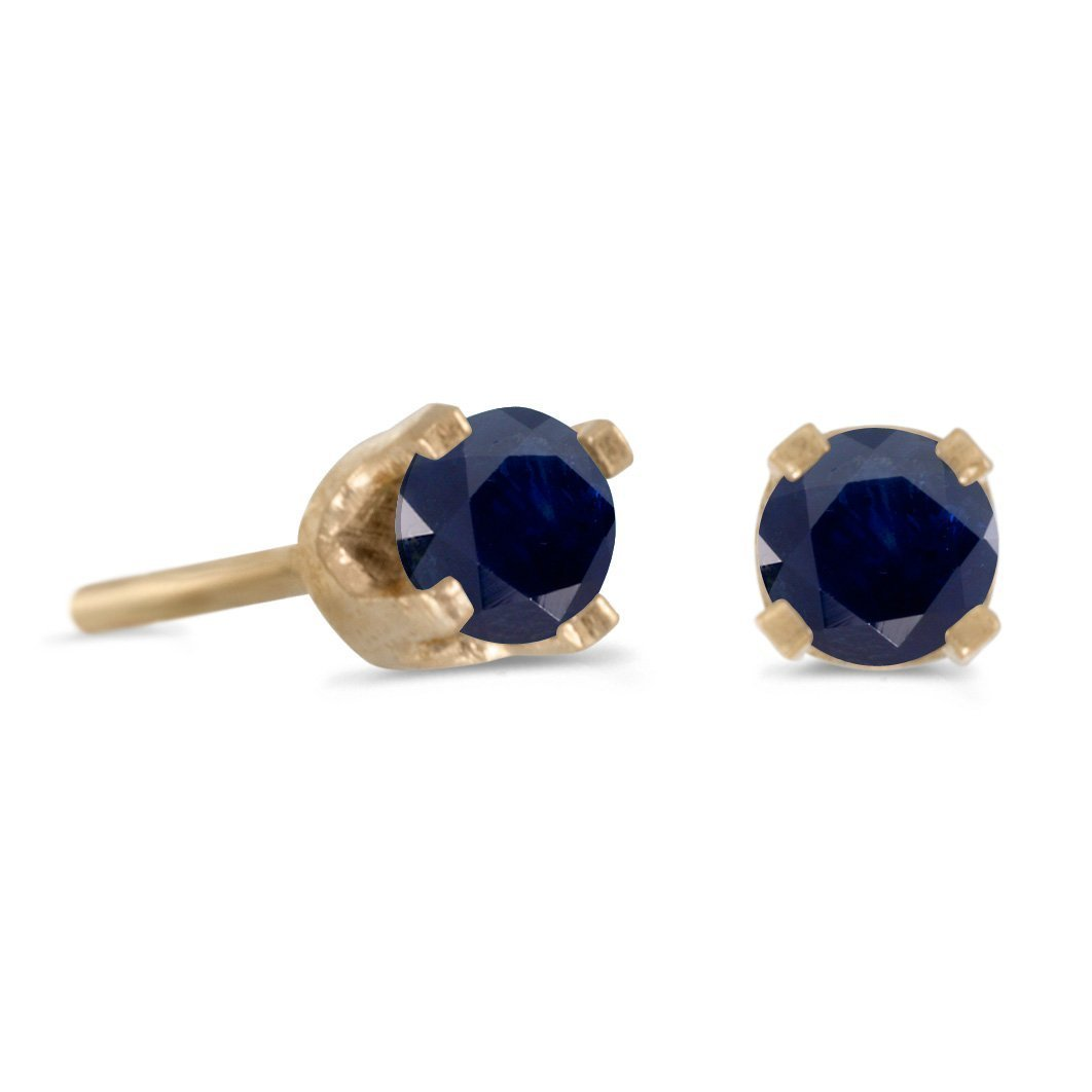 FB Jewels Solid 3 mm Petite Round Genuine Blue Sapphire Stud Earrings in 14k Yellow Gold Genuine Blue Birthstone (0.18 Cttw.) by FB Jewels (Image #1)