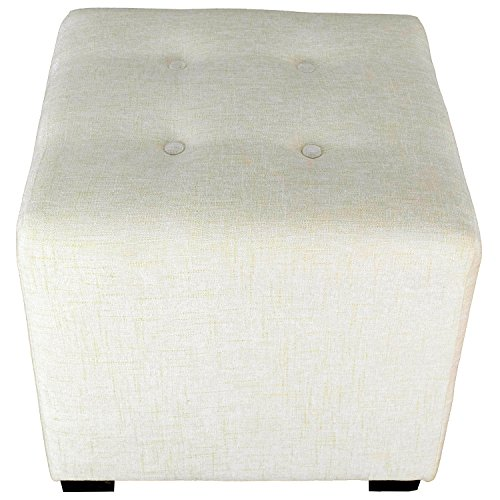 Bone Collection Cube - MJL Furniture Designs Merton Collection, Fabric Upholstered Modern Cube Foot Rest Ottoman with 4 Button Tufting, Atlas Series, Bone