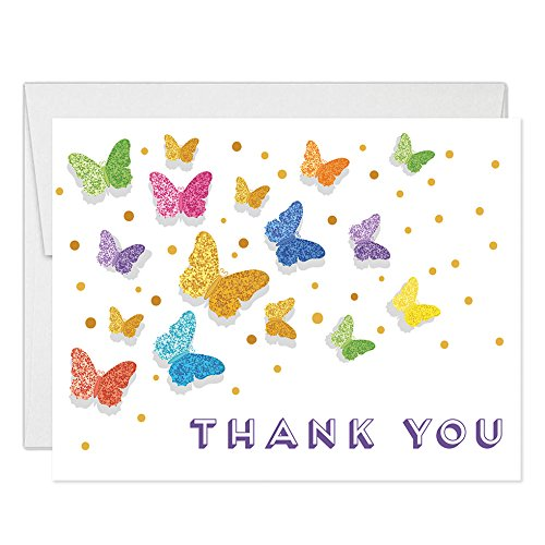 Rainbow Butterfly Thank You Cards with Envelopes (Pack of 25) Any Occasion Large 5x7
