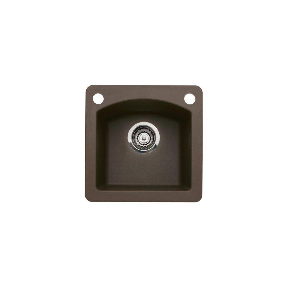 Blanco 440202-2 Diamond 2-Hole Single-Basin Drop-In or Undermount Granite Bar Sink, Cafe Brown