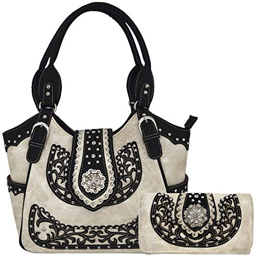 - Western Style Rhinestone Concho West Concealed Carry Purse Country Handbag Women Shoulder Bag Wallet Set (Beige Set)