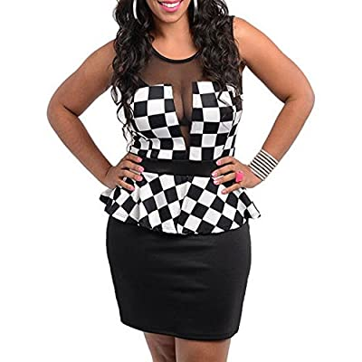 Discount 111 - Plus Size Mesh Checkered Peplum Cocktail Dress Black White VCeOqDUW