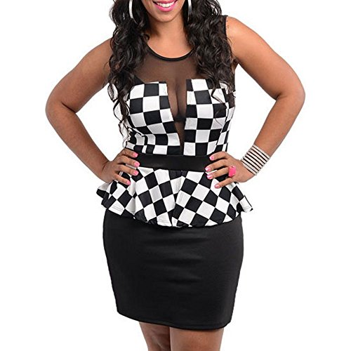 111 - Plus Size Mesh Checkered Peplum Cocktail Dress Black White (3X)