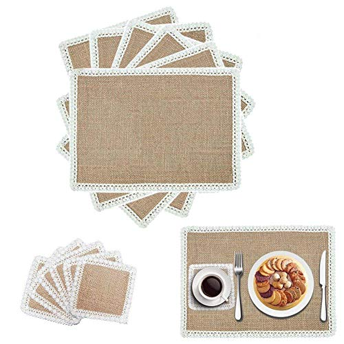 10pcs burlap place mats rustic wedding table decoration hessian placemats coasters for christmas natural vintage coaster party kitchen dining runners placemat lace trimmed cup mat cutlery - Placemats Trimmed
