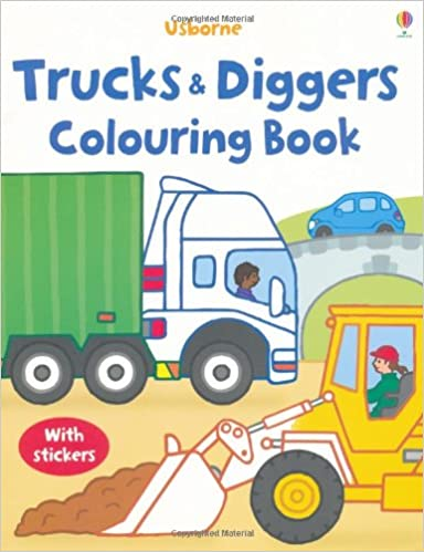 trucks and diggers usborne first colouring books my first colouring book amazoncouk dan crisp 9781409510079 books - Colouring Books