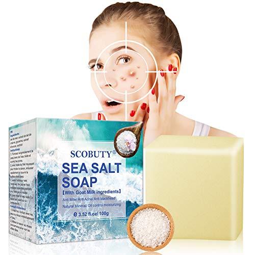 Sea Salt Soap, Sea Mineral Soap, Invigorating Bath Soap, Cleaner Removal Pimple Pores Acne Treatment Goat Milk Moisturizing Face Care Soap, for All Skin type