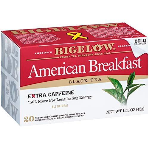 Bigelow American Breakfast Black Tea 20 Bags (Pack of 6), 120 Tea Bags Total.   Caffeinated Individual Black Tea Bags, for Hot Tea or Iced Tea, Drink Plain or Sweetened with Honey or Sugar (Best American Tea Brands)
