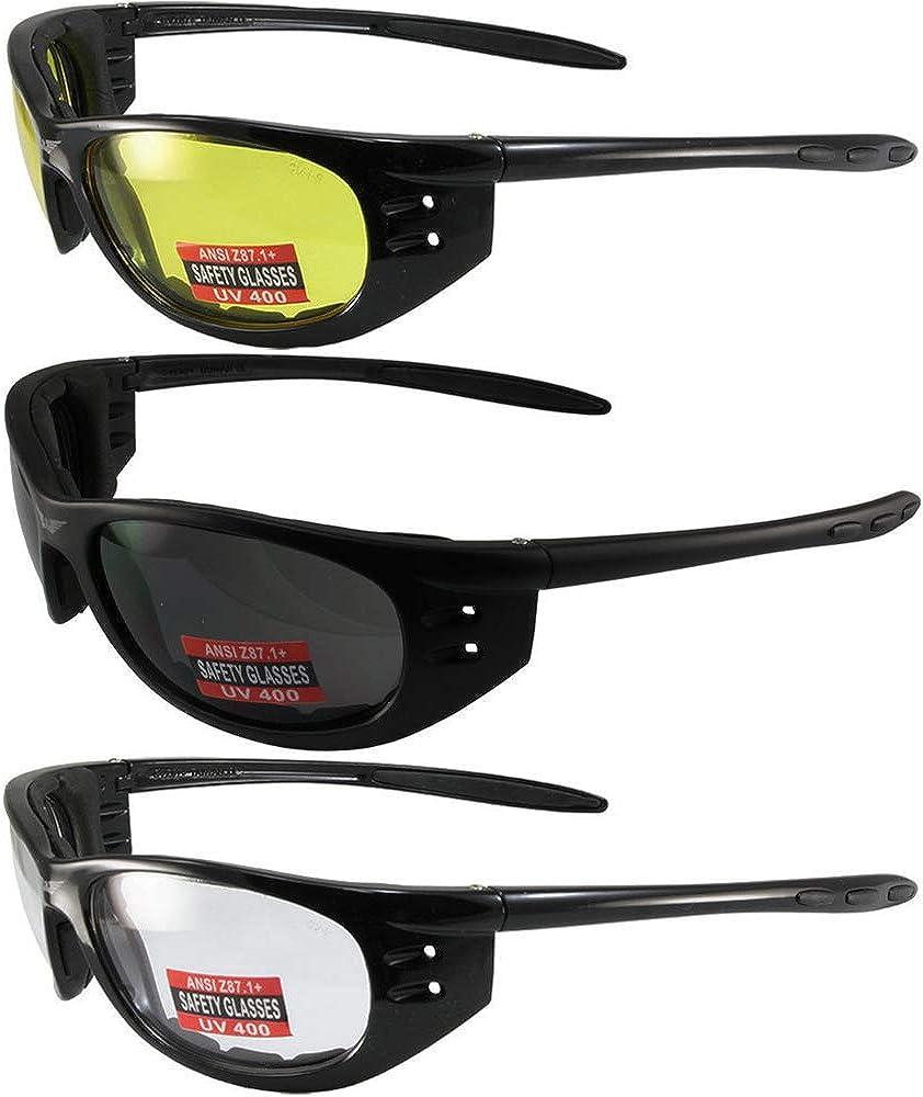 MOTORCYCLE Riding SUN GLASSES Protective Eyewear Shatterproof Lens Neon Yellow