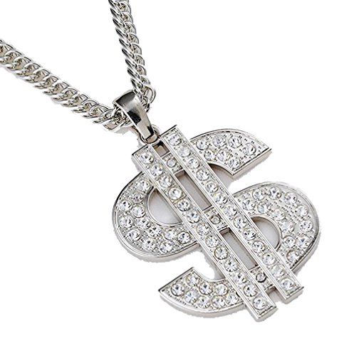 Grenf Fashion 18k Gold Silver Plated Mens Rhinestone Dollar Sign Necklace with 31