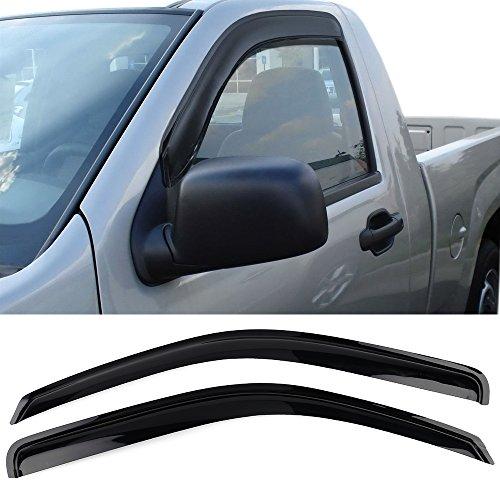 Window Visor Fits 2004-2012 Chevy Colorado Standard Cab   Acrylic Black Slim Style Sun Rain Guards Cover By IKON MOTORSPORTS   2005 2006 2007 2008 2009 2010 2011
