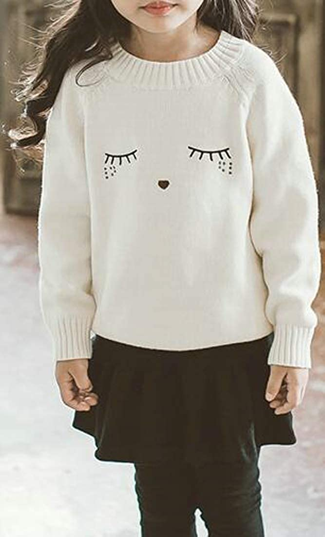 Cromoncent Girls Long-Sleeve Pullover Cute Knitted Jumper Sweaters