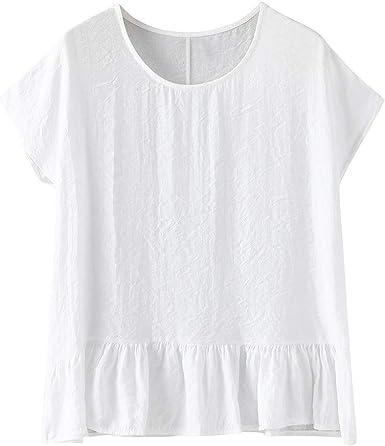 Camiseta De Algodón Y Lino Manga Corta para Mujer Cuello Redondo ...