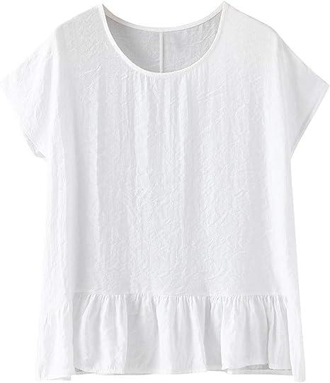 Camiseta De Algodón Y Lino Manga Corta para Mujer Cuello Redondo Tops Vintage Camiseta Suelta Mujeres Camisetas Casuales Color Sólido Wyxhkj: Amazon.es: Ropa y accesorios