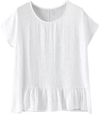 Poachers Tops Mujer Verano Tallas Grandes Camisas Mujer Manga Corta Originales Blusas para Mujer Elegantes Verano Camisetas Mujer Deporte Manga de murciélago Manga Ancha de algodón: Amazon.es: Ropa y accesorios