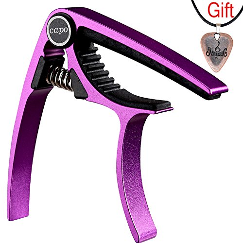 Guitar Capo Guitar Picks for Acoustic Electrics Classical Ukulele Mandolin And Bass - Made of Ultra Lightweight Aluminum Metal (Purple)