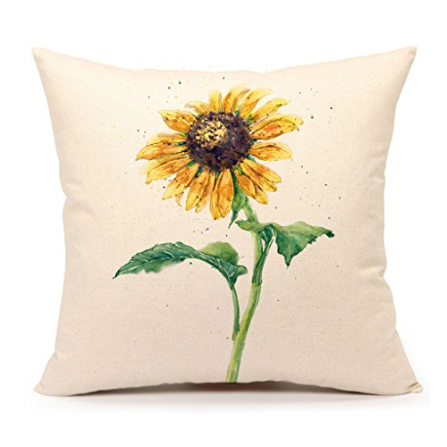 Pillow Sunflower (4TH Emotion Watercolor Sunflower Yellow Home Decorative Throw Pillow Cover Cushion Case 18