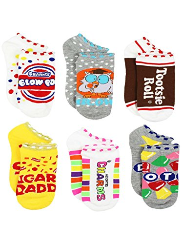 Topps Charms Candy Tootsie Roll Womens 6 pack Socks (9-11 / Shoe: 4-10, Charms Candy No Show)
