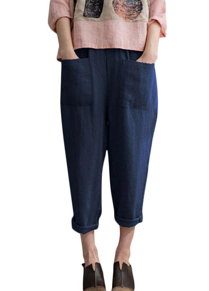 Romacci Woman Loose Cotton Linen Wide Leg Pants Elastic Waist Pockets Casual Trousers