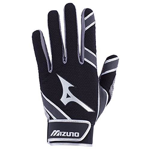 Mizuno MVP Youth Tee Ball Batting Gloves, Black